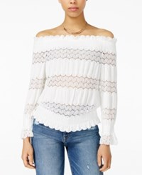 J.O.A. Crochet Lace Off The Shoulder Top White