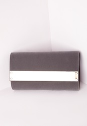 Missguided Velvet Metal Trim Clutch Grey Grey