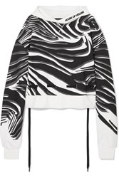 House Of Holland Oversized Printed Cotton Jersey Hoodie White