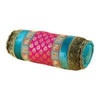 Ian Snow Brocade And Rayon Velvet Bolster Cushion Cerise And Turquoise