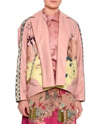 Valentino Jungle Of Delight Embroidered Leather Jacket Blush Multi Multi Pattern