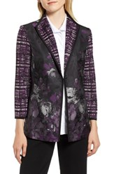 Ming Wang Woven Floral And Knit Jacket Jelly Black Chai