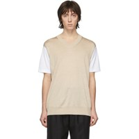 Junya Watanabe White And Beige Thin Knit Jersey T Shirt