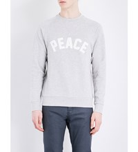 Sandro Peace Applique Jersey Sweatshirt Mocked Grey