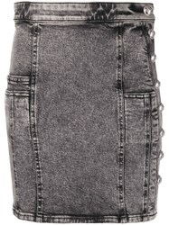 Balmain Button Embellished Denim Mini Skirt 60