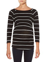 Rosie Pope Maternity Three Quarter Sleeve Ruched Top Black