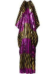 Halpern Draped Column Sequinned Maxi Dress Black Gold Purple Fuchsia
