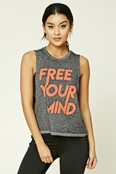 Forever 21 Active Free Your Mind Tank Top Charcoal Peach