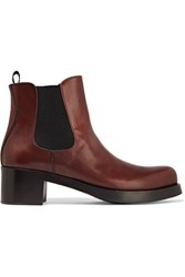Prada Leather Ankle Boots Chocolate
