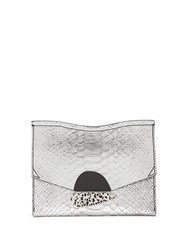 Proenza Schouler Curl Small Python Effect Leather Clutch Silver
