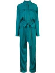 Milly Belted Waist Jumpsuit Green