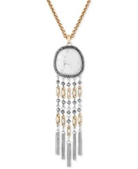 Lucky Brand Two Tone Pave And White Stone Statement Pendant Necklace Two Tone
