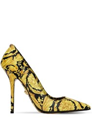 Versace 110Mm Barocco Printed Leather Pumps Gold