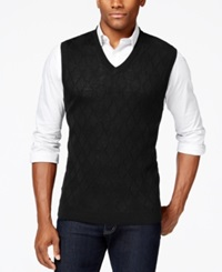 Club Room Big And Tall Merino Textured Argyle Vest Only At Macy's Deep Black