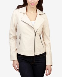 Lucky Brand Leather Moto Jacket Almond Milk