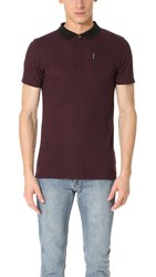 Ben Sherman Polished Viscose Polo Dark Port