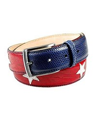Manieri Stars And Stripes Patchwork Leather Belt Red