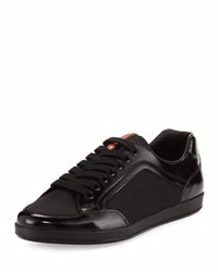 Prada Linea Rossa Nylon And Patent Leather Low Top Sneaker Black