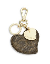 Calvin Klein Leather Heart Keychain Brown Khaki Gold