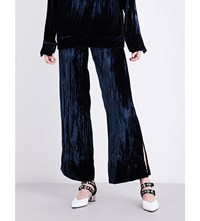 Sharon Wauchob High Rise Creased Velvet Trousers Navy