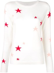 Chinti And Parker Star Embroidered Sweater White