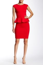 Alice Olivia Victoria Short Sleeve Peplum Dress Red