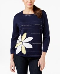 Alfred Dunner Embellished Three Quarter Sleeve Sweater