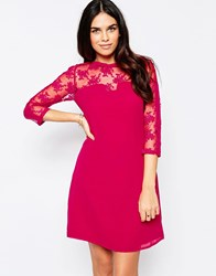 Little Mistress Shift Dress With Lace Sleeves Pink