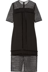 By Malene Birger Katnesa Fringed Crepe De Chine And Crocheted Lace Dress Black