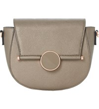 Dune Ebonnie Locked Saddle Bag Grey Plain Synthetic