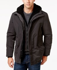Calvin Klein Men's Hooded Coat With Faux Sherpa Lining Pewter