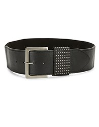 Fashion Focus Studded Stretch Pebbled Leather Wide Belt Black