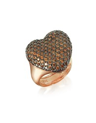 Azhar Rings Rose Sterling Silver You Me Ring W Champagne Cubic Zirconia