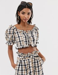 Neon Rose Tea Blouse With Puff Sleeves In Check Co Brown