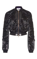 Zuhair Murad Embroidered Organza Bomber Jacket Black