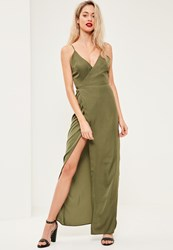 Missguided Green Silky Plunge Maxi Dress Olive