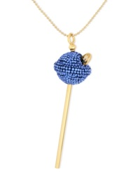 Sis By Simone I Smith 18K Gold Over Sterling Silver Necklace Medium Deep Blue Crystal Lollipop Pendant