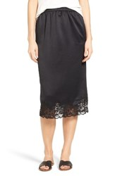 Hinge Women's Lace Trim Midi Slip Skirt