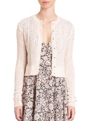 Rebecca Taylor Flamme Ribbed Cardigan Creamsicle
