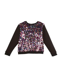 Milly Minis Sequin Combo Sweatshirt Pink