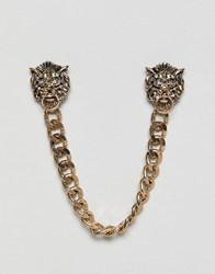 Burton Menswear Collar Chain With Lion Face In Gold