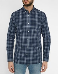Knowledge Cotton Apparel Blue Checked Organic Cotton Shirt