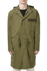 Topman Oversized Military Parka With Detachable Hood Green
