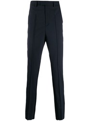Les Hommes Slim Fit Tailored Trousers Blue
