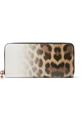 Christian Louboutin Panettone Degrade Leopard Print Leather Continental Wallet Brown