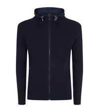 Michael Kors Hooded Ribbed Knit Jacket Male Navy