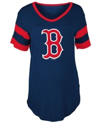 5Th And Ocean Women's Boston Red Sox Sleeve Stripe Relax T Shirt Navy Red