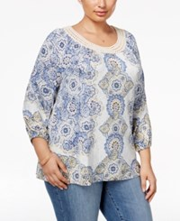 Styleandco. Style Co. Plus Size Printed Crochet Trim Top Only At Macy's Beachside Medallion