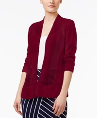 Alfani Petite Mixed Stitch Open Front Cardigan Only At Macy's Classic Wine