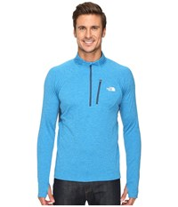 The North Face Impulse Active 1 4 Zip Pullover Blue Aster Heather Shady Blue Men's Long Sleeve Pullover